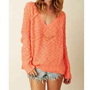 Free People Songbird Shaggy Bear Pullover Sweater